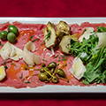 Beef carpaccio with balsamic vinegar