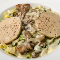 Tagliatelle with foie-gras (fattened liver), mushrooms sauce (new)